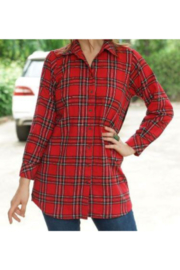 Avani Red Plaid Shirt with Contrasting Embroidered Back - Product Mini Image