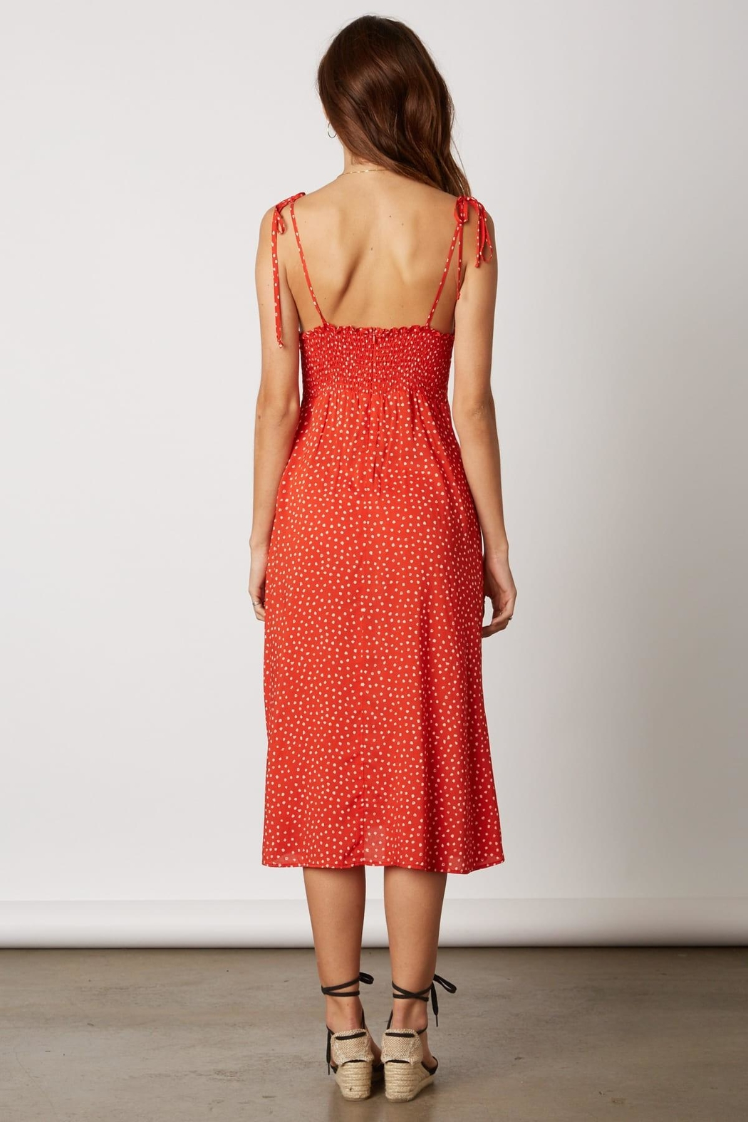 Cotton Candy LA Red Polka-Dot Dress - Side Cropped Image