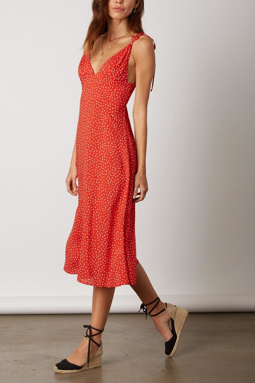 Cotton Candy LA Red Polka-Dot Dress - Front Full Image