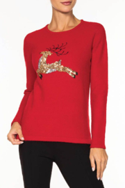 Alison Sheri Red Reindeer Sweater - Front cropped