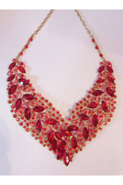 KIMBALS Red Rhinestone Necklace Set In Antique Gold Setting - Product Mini Image
