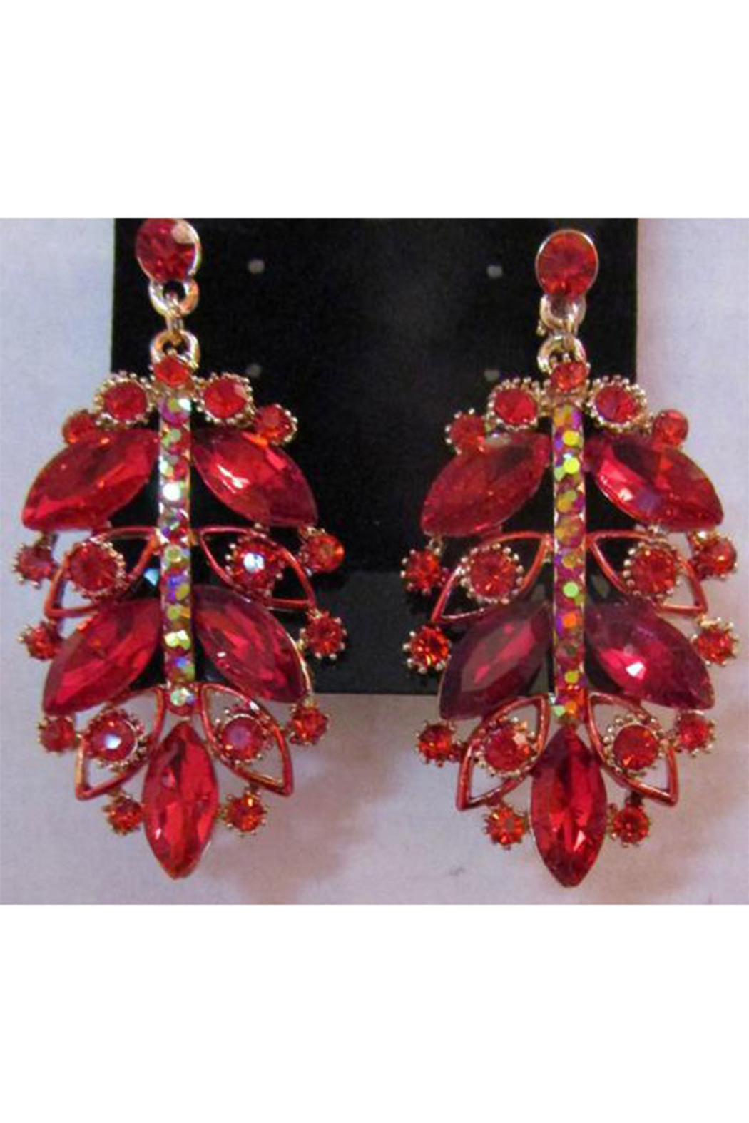 Sophia Red Rhinestone Necklace Set In Antique Gold Setting - Front Full Image