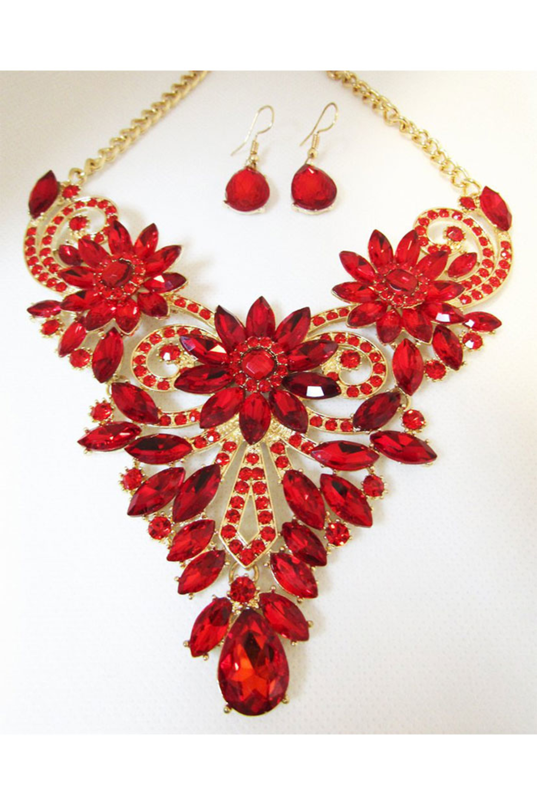 Sophia Red Rhinestone Necklace Set In Gold Setting - Main Image