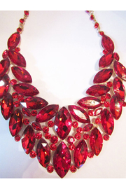Sophia Red Rhinestone Necklace Set In Gold Setting - Product Mini Image