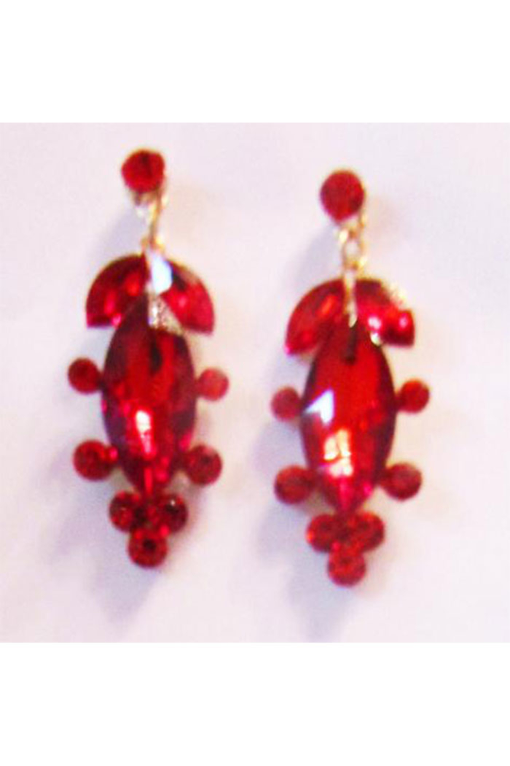 Sophia Red Rhinestone Necklace Set In Gold Setting - Front Full Image