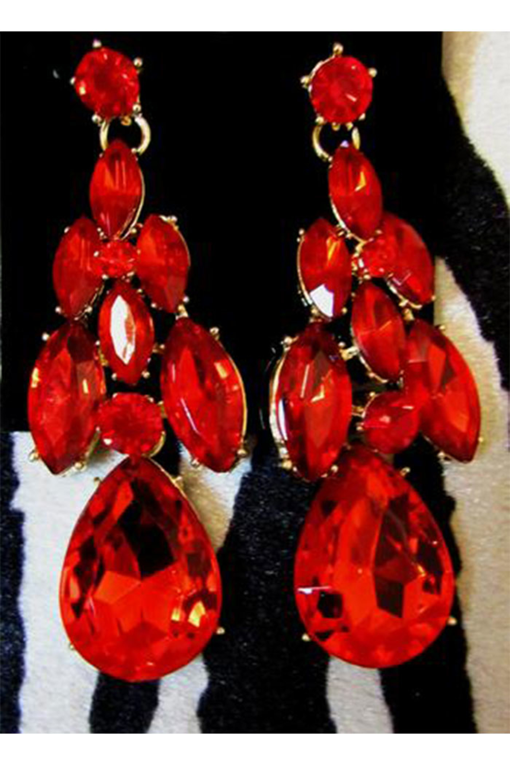 KIMBALS Red Rhinestone Statement Necklace Set - Front Full Image