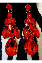 KIMBALS Red Rhinestone Statement Necklace Set - Front full body