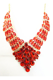 KIMBALS Red Rhinestone Statement Necklace Set - Front cropped