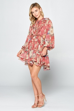 Racine Red Romantic Floral-Dress - Alternate List Image