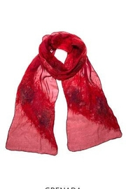 Chriska Louise Red Romantic Silk Wrap - Front cropped