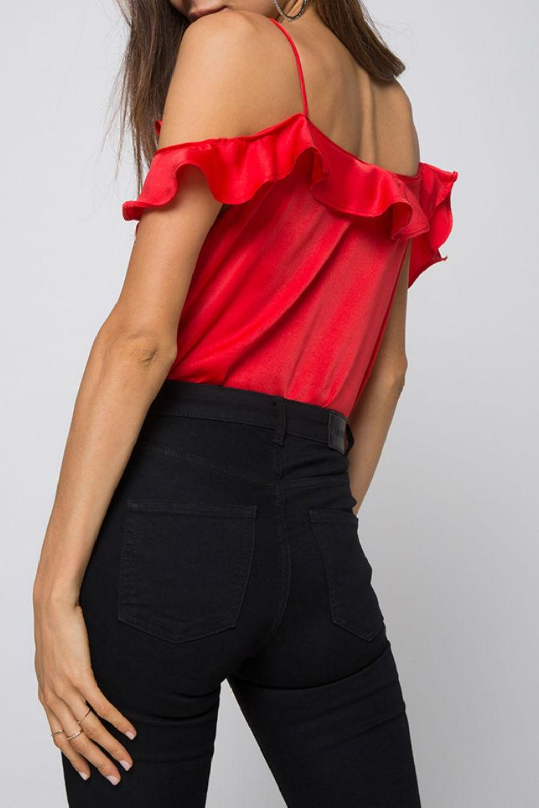 Motel Rocks Red Ruffle Bodysuit - Back Cropped Image