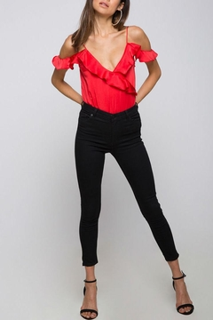 Shoptiques Product: Red Ruffle Bodysuit
