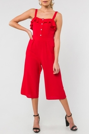 Everly Red Ruffle Cropped-Jumpsuit - Product Mini Image
