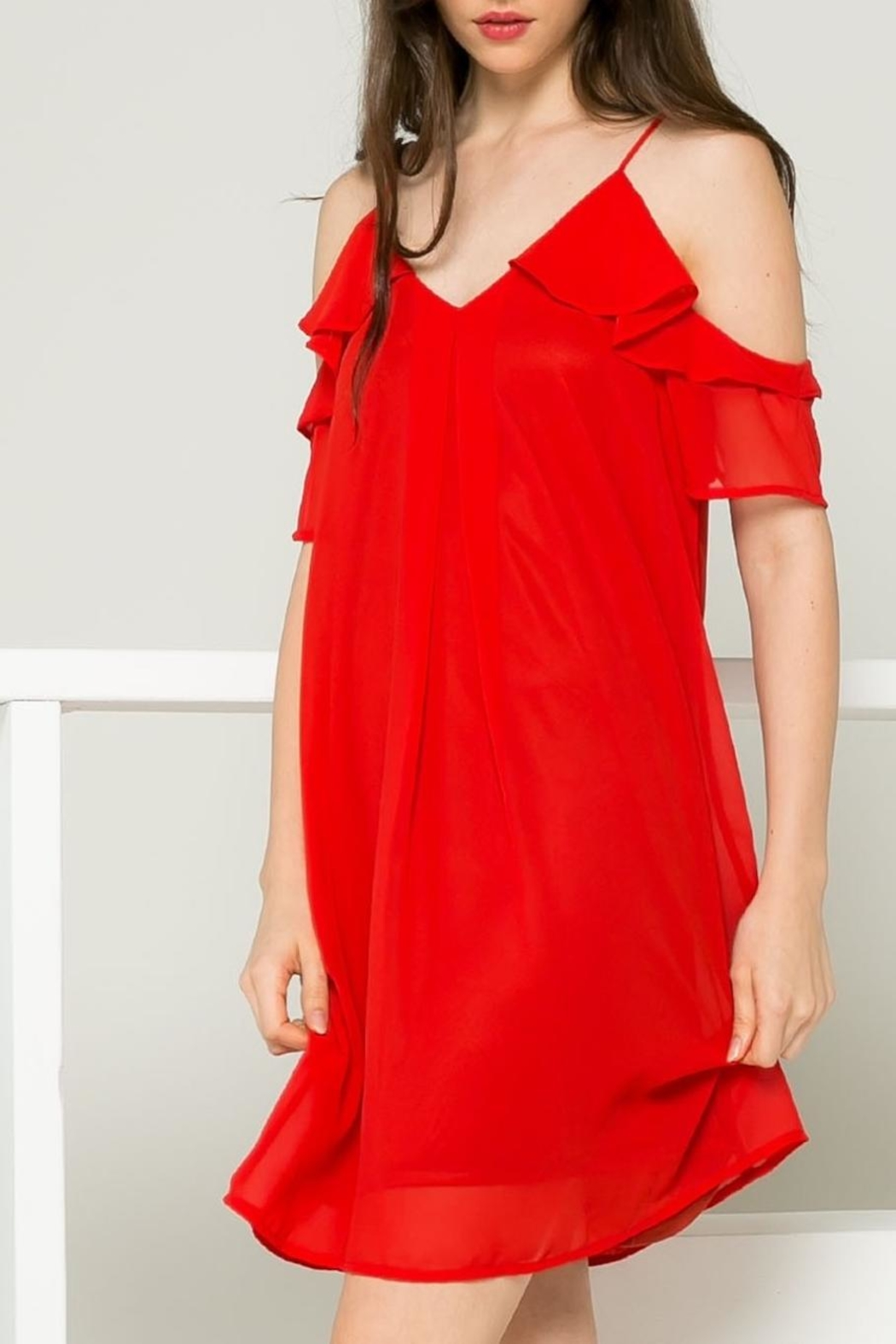 THML Clothing Red Ruffle Dress - Side Cropped Image