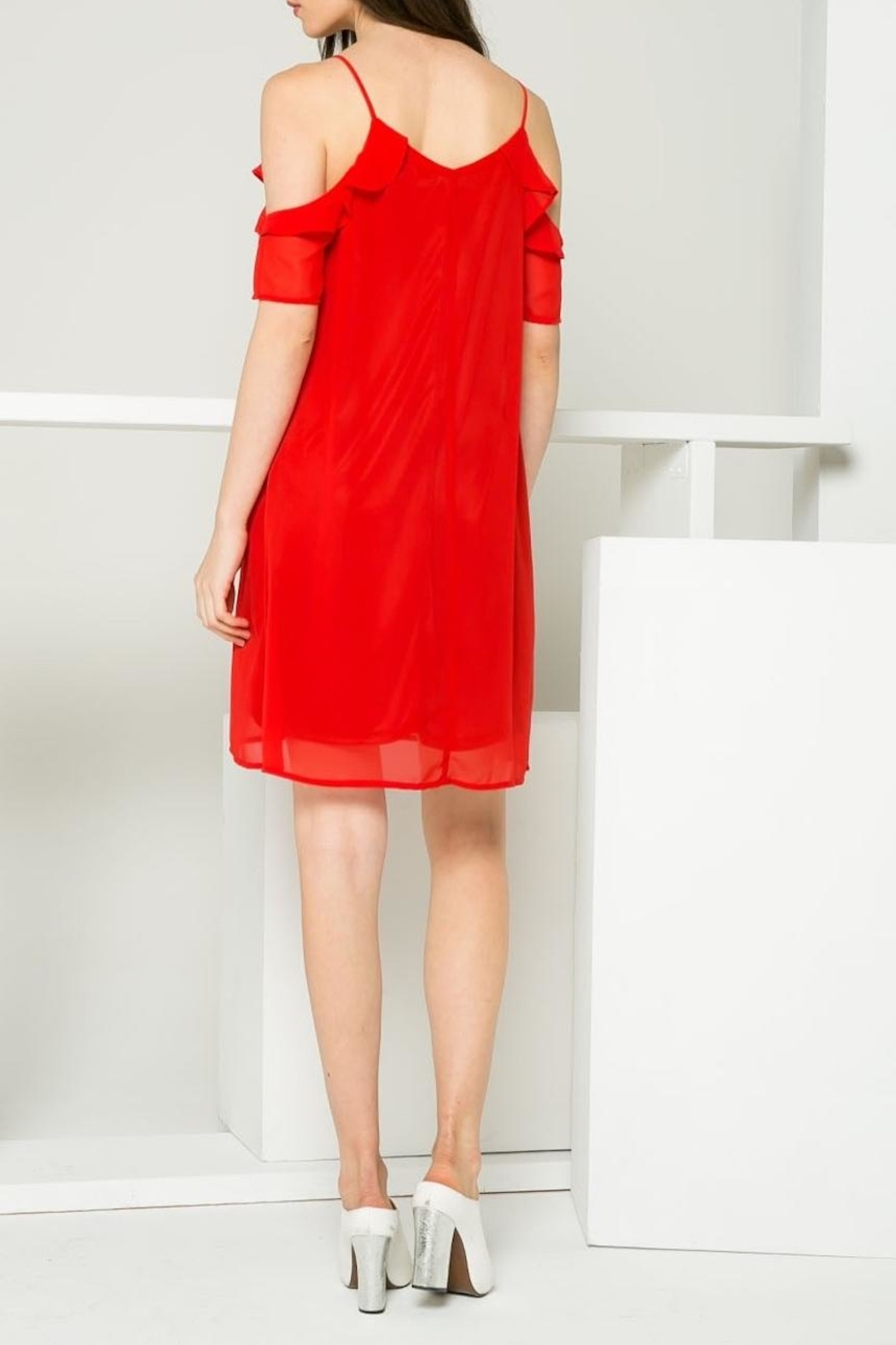 THML Clothing Red Ruffle Dress - Back Cropped Image