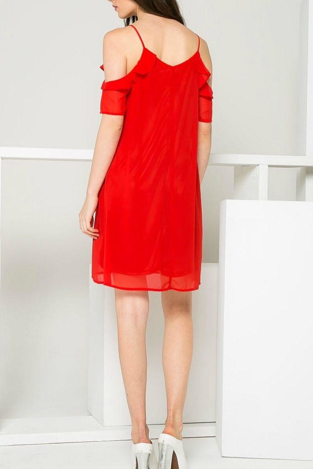 THML Clothing Red Ruffle Dress - Front Full Image