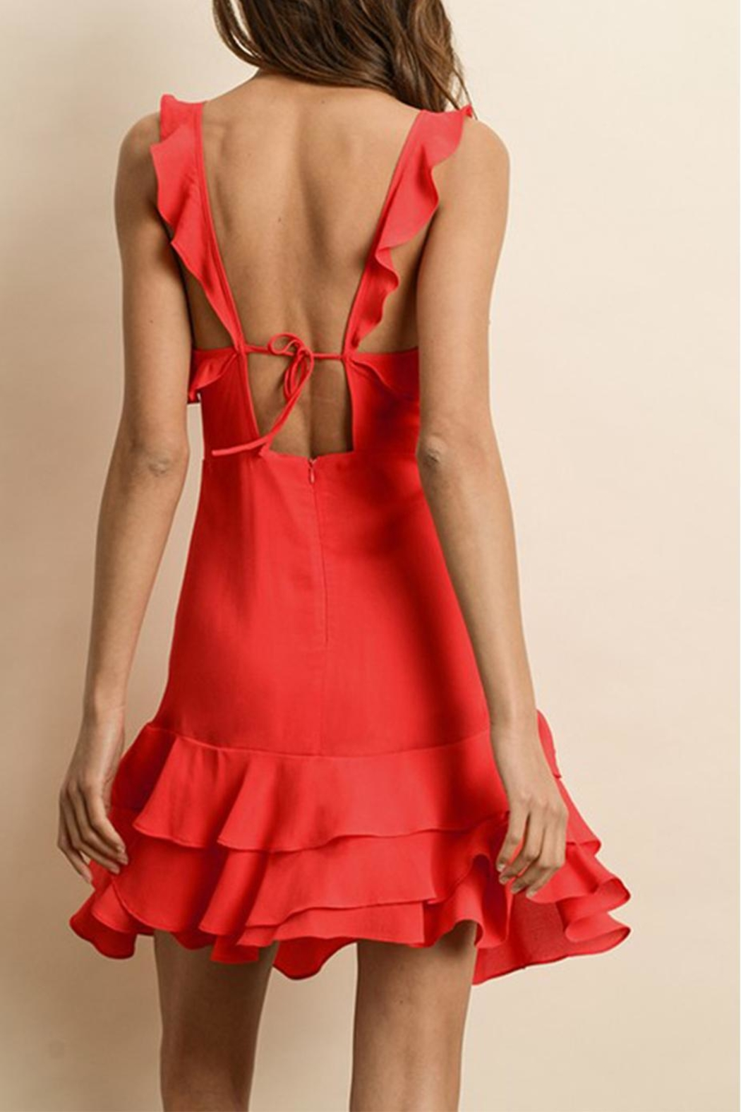 dress forum Red Ruffle Dress - Side Cropped Image