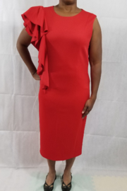 Lily & Taylor Red ruffle dress - Product Mini Image