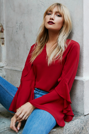 Fifteen Twenty Red Ruffle Flare Slv Blouse - Product Mini Image