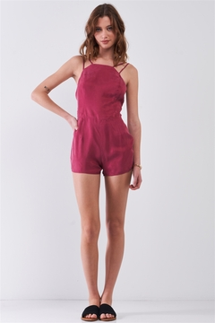 Tasha Apparel Red Sangria Sleeveless Bandeau Neck Open Back Romper - Product List Image