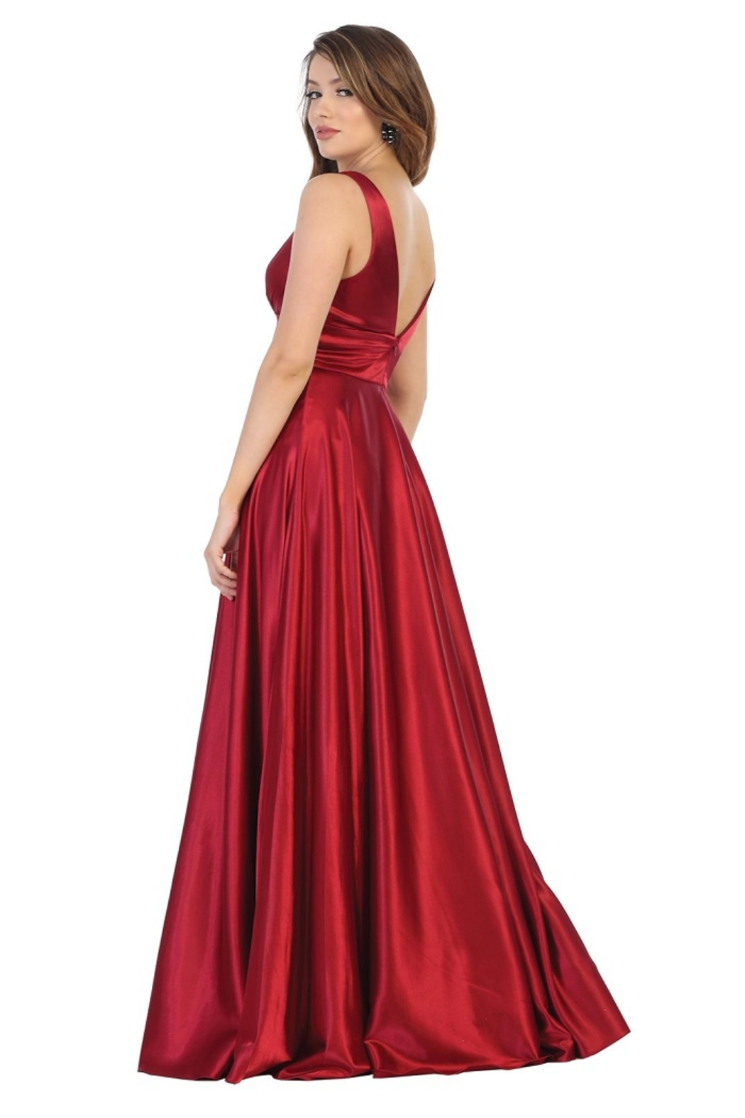 May Queen  Red Satin A-Line Formal Long Dress - Front Full Image