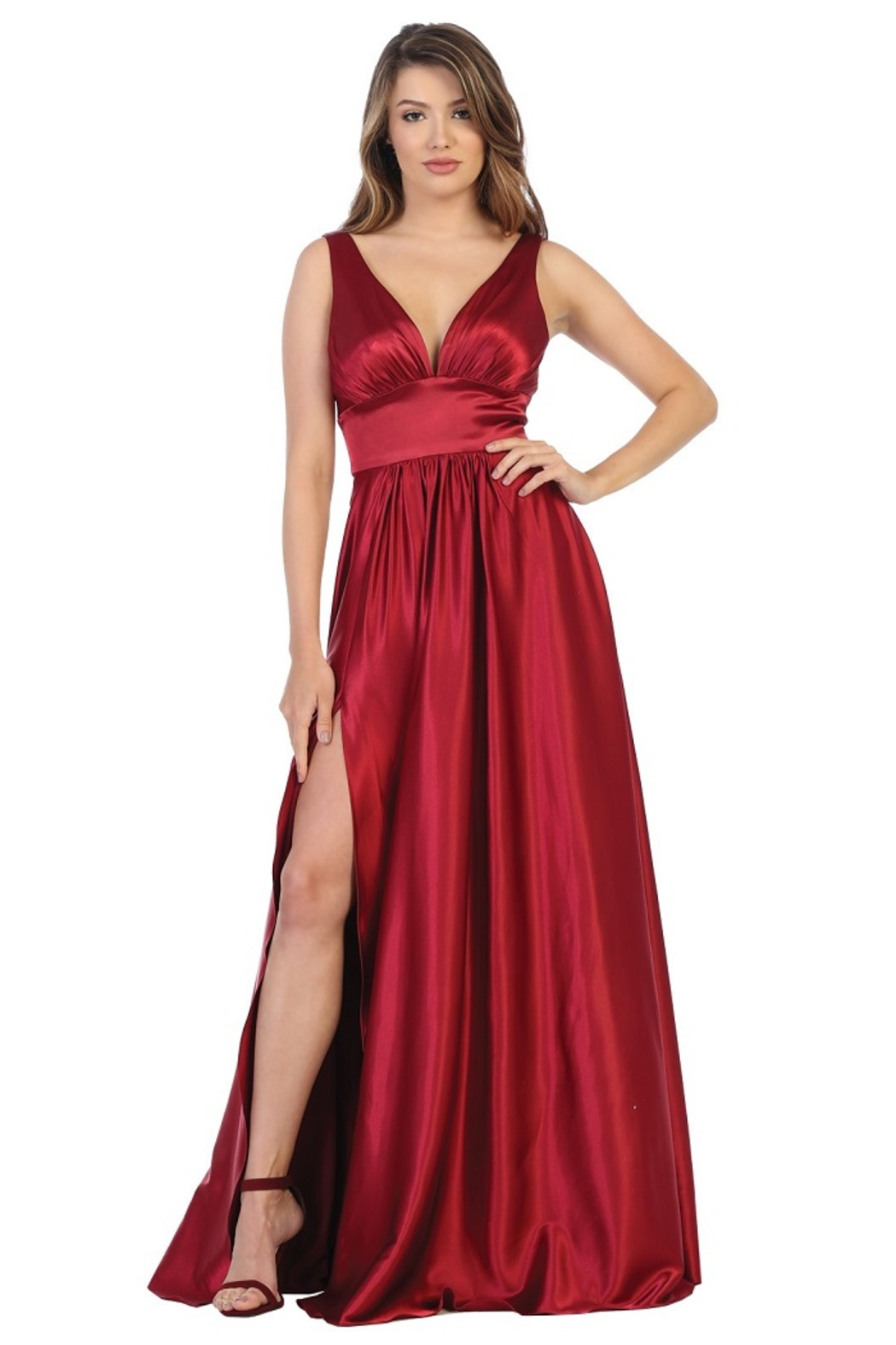 May Queen  Red Satin A-Line Formal Long Dress - Main Image
