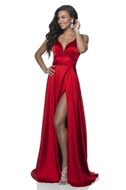 Blush Prom Red Satin A-Line Long Formal Dress - Front cropped