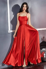 Cinderella Divine Red Satin A-Line Long Formal Dress - Product Mini Image
