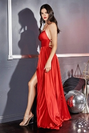 Cinderella Divine Red Satin A-Line Long Formal Dress - Front full body