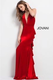 Jovani Red Satin Gown - Product Mini Image