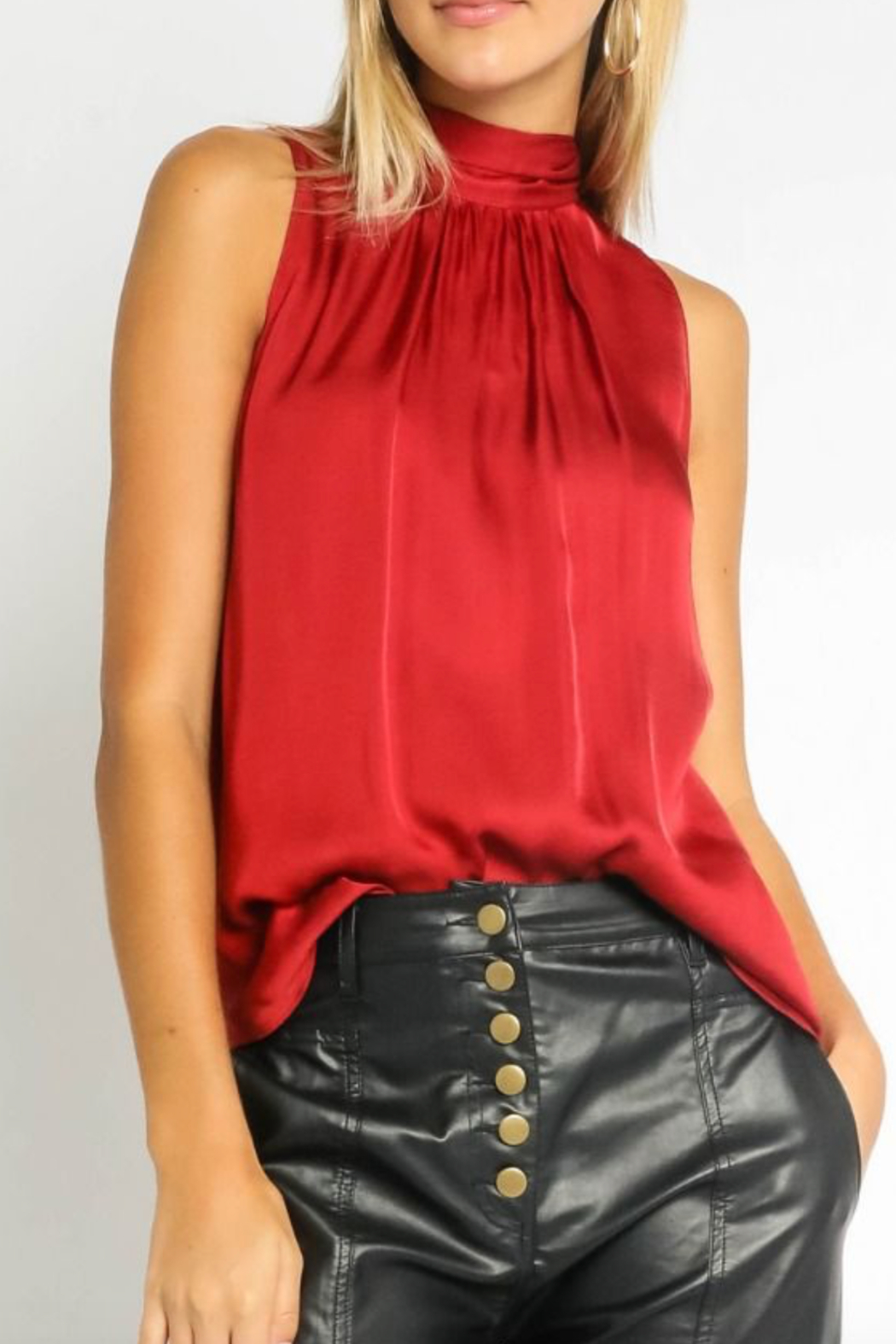 Olivaceous  Red Satin Halter - Main Image