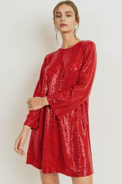 Cherish Red Sequined Shift - Product List Image