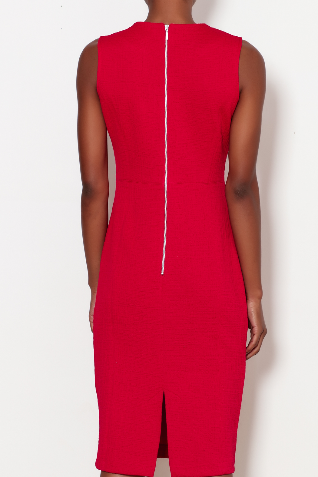 Forest Lily Red Sheath Dress with Geometrical Line - Back Cropped Image