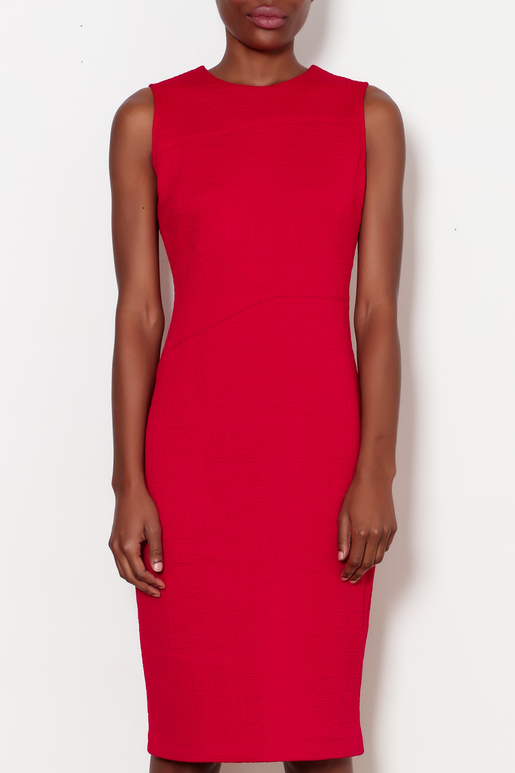 Forest Lily Red Sheath Dress with Geometrical Line - Front Full Image