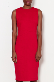 Forest Lily Red Sheath Dress with Geometrical Line - Front full body