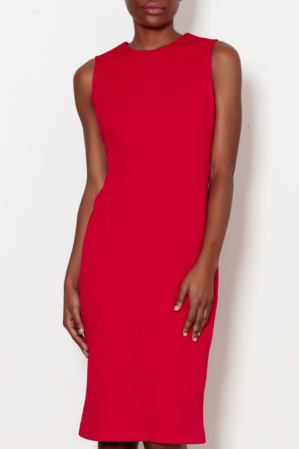 Forest Lily Red Sheath Dress with Geometrical Line - Front Cropped Image