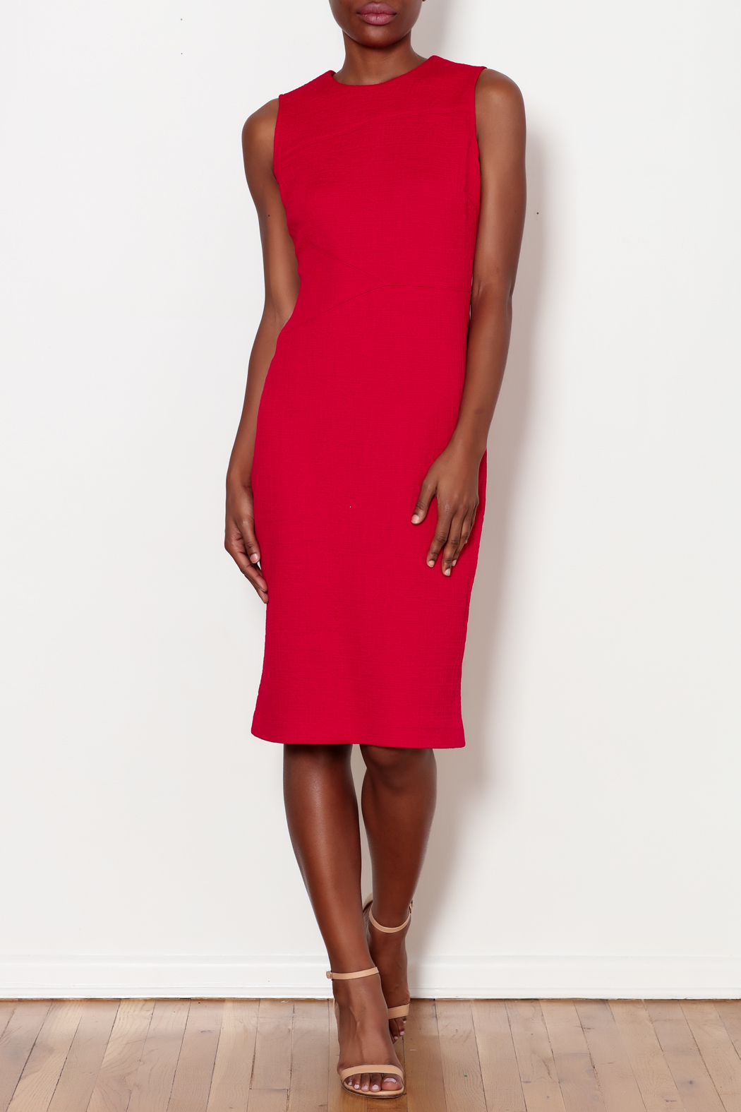 Forest Lily Red Sheath Dress with Geometrical Line - Side Cropped Image