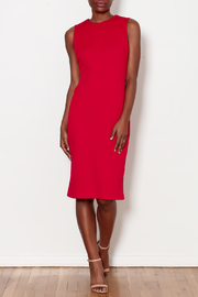 Forest Lily Red Sheath Dress with Geometrical Line - Side cropped