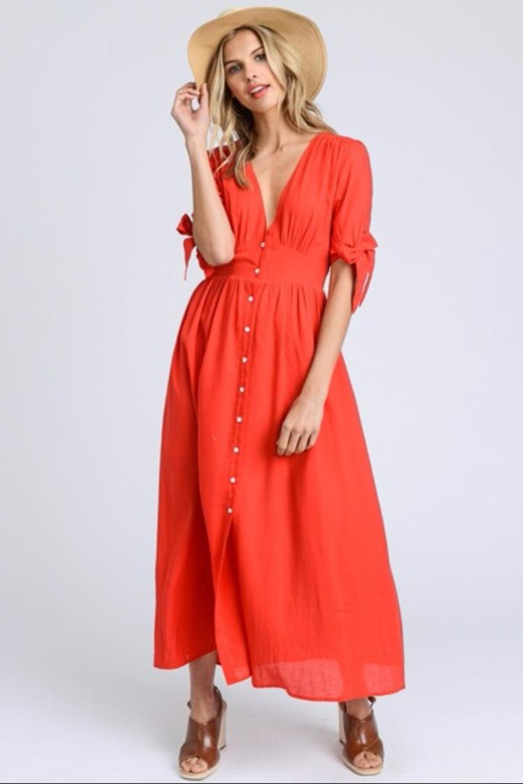 E2 Clothing Red Short-Sleeve Dress - Main Image