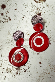 Treska Red Sky Post with Disc Drop Earring - Product Mini Image