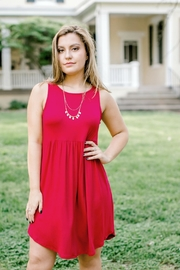 Emerald Red Sleeveless Dress - Side cropped