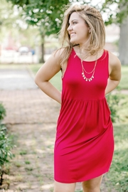 Emerald Red Sleeveless Dress - Front full body