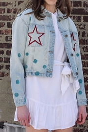 Avery Rowan Art Red Star Pocket with Blue Dots on Light Blue Denim Jacket - Product Mini Image