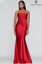Faviana Red Strapless Gown - Product Mini Image