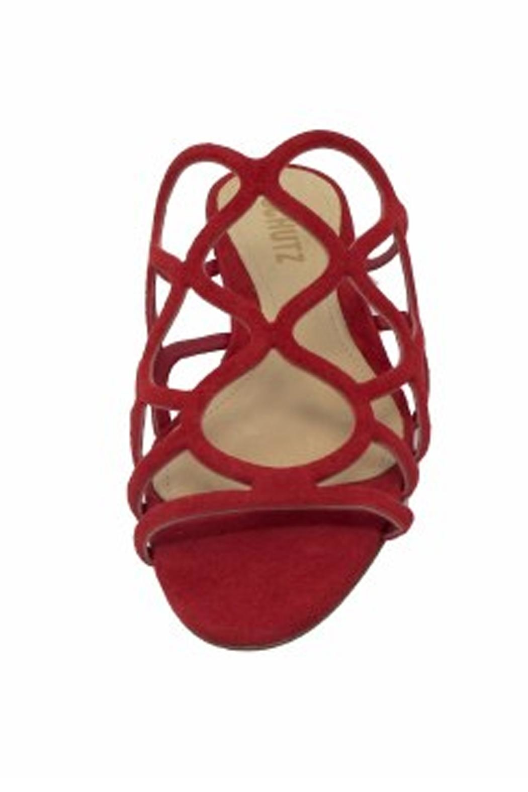 Schutz Red Strappy Sandal - Side Cropped Image