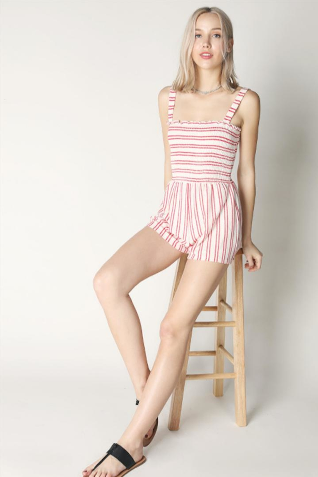 Hey  Red Stripe Romper - Front Full Image