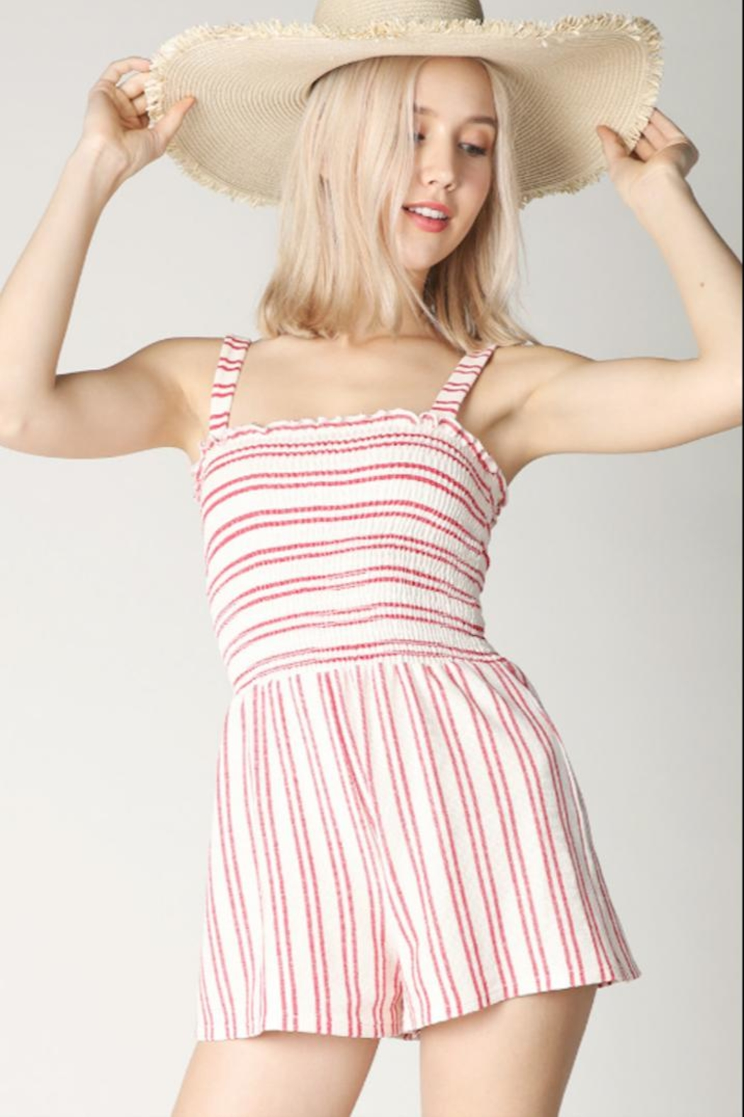 Hey  Red Stripe Romper - Main Image
