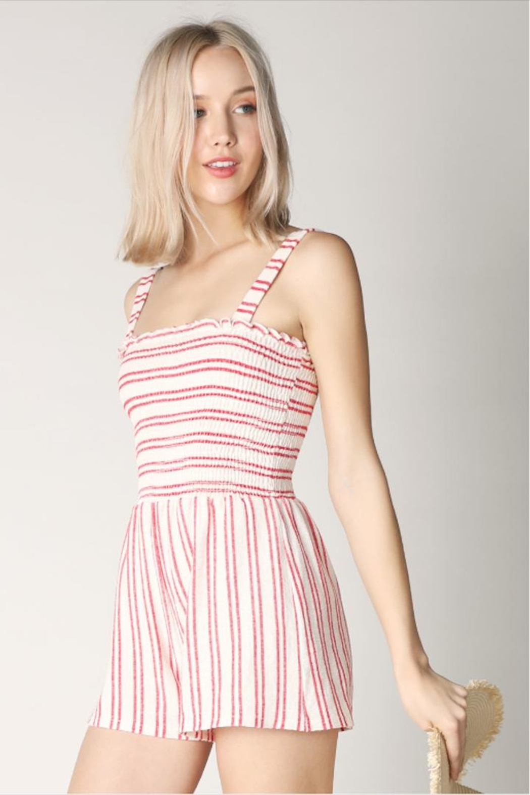 Hey  Red Stripe Romper - Side Cropped Image
