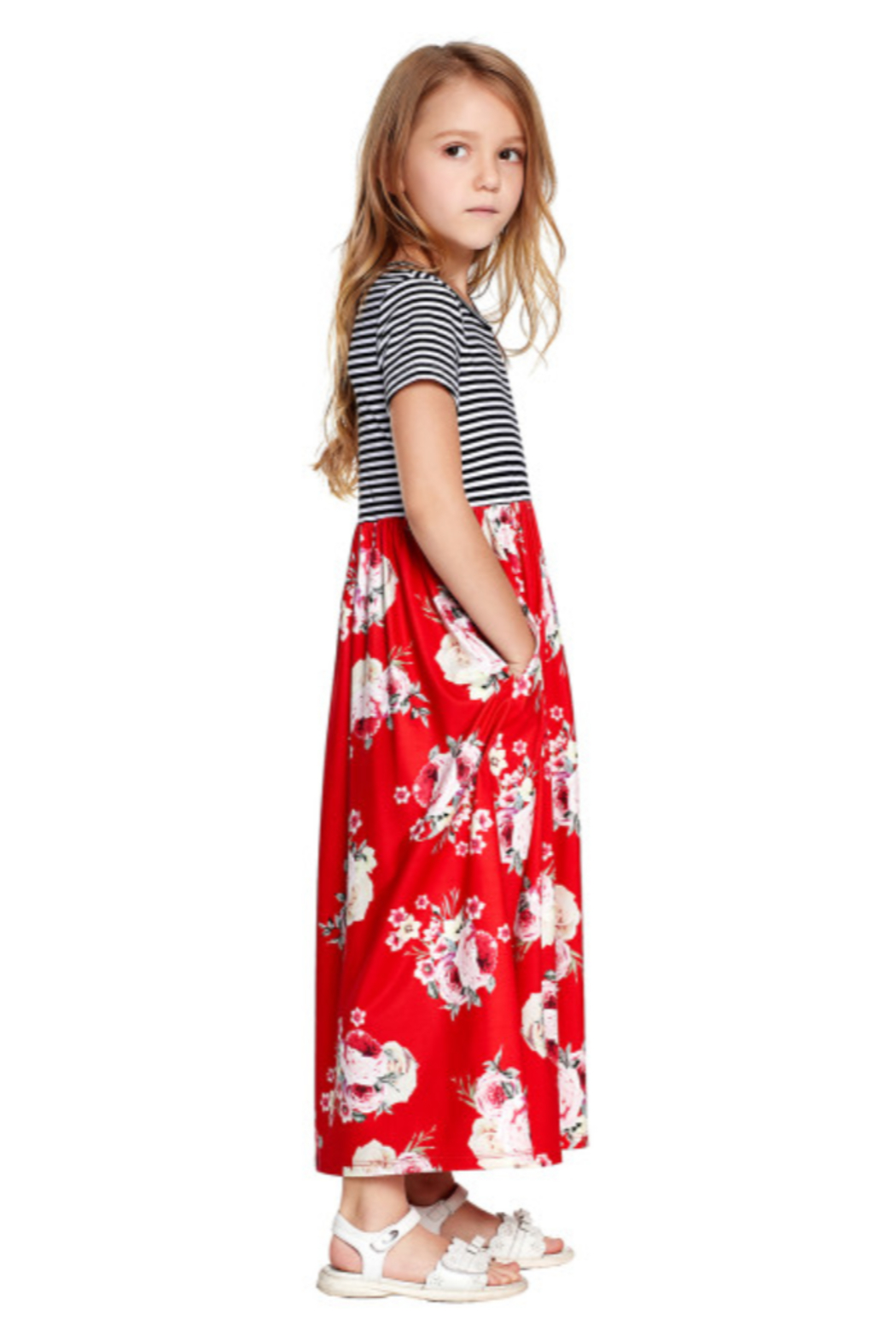 The Emerald Fox Boutique Red Striped Floral Print Little Girls Maxi Dress - Side Cropped Image