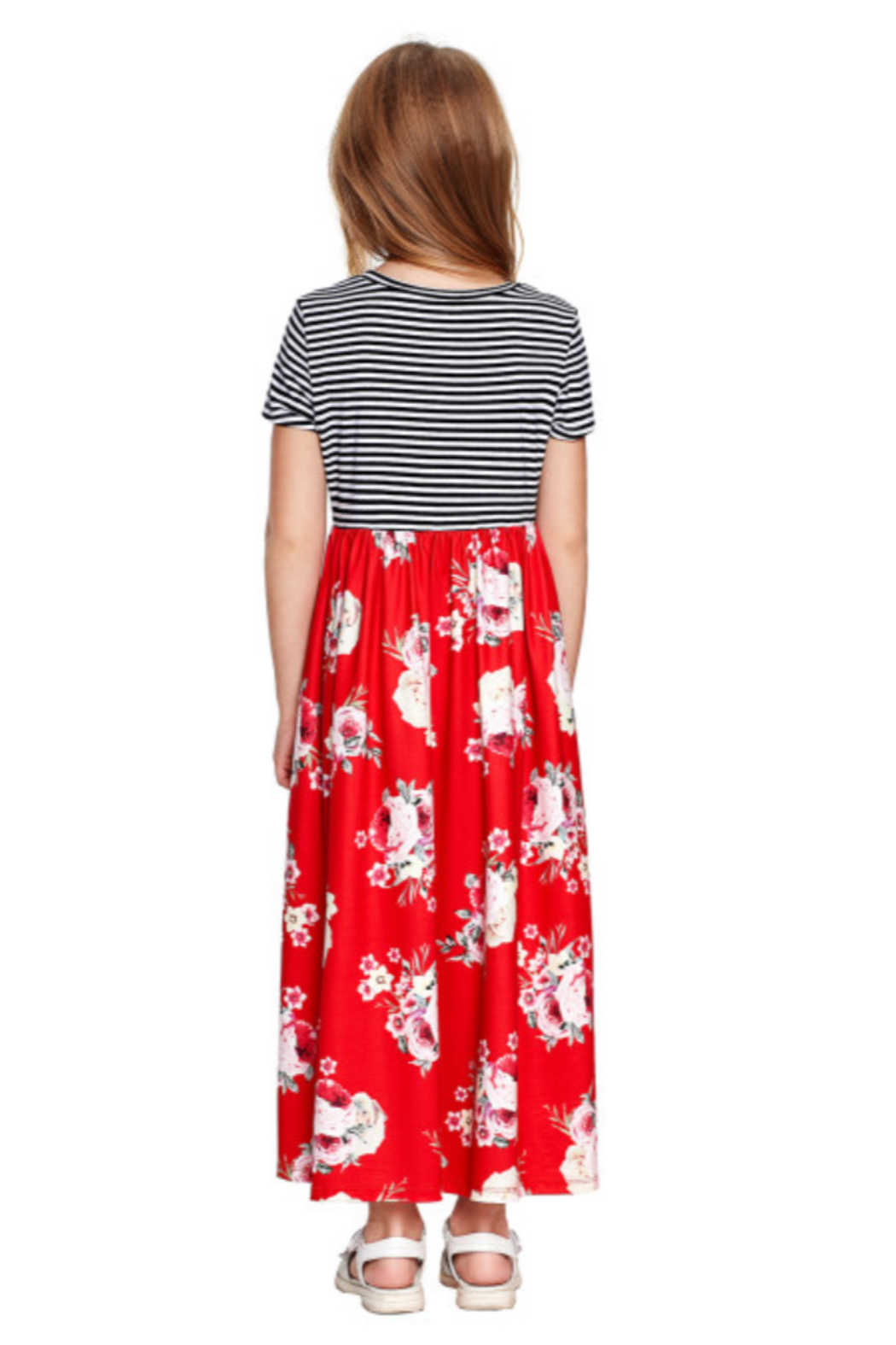 The Emerald Fox Boutique Red Striped Floral Print Little Girls Maxi Dress - Front Full Image